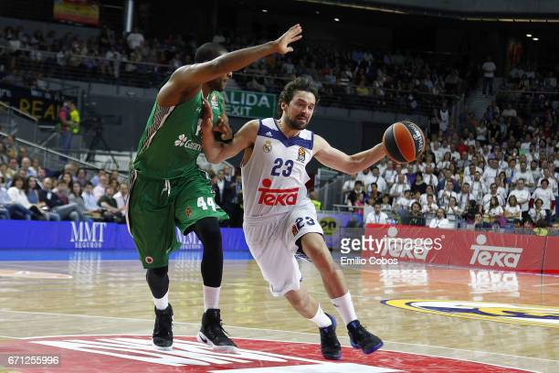 Sergio Llull #23 of Real Madrid in action during the 2016/2017 Turkish Airlines EuroLeague Playoffs leg 2 game between Real Madrid v Darussafaka...
