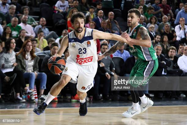 Sergio Llull #23 of Real Madrid in action during the 2016/2017 Turkish Airlines EuroLeague Playoffs leg 3 game between Darussafaka Dogus Istanbul v...