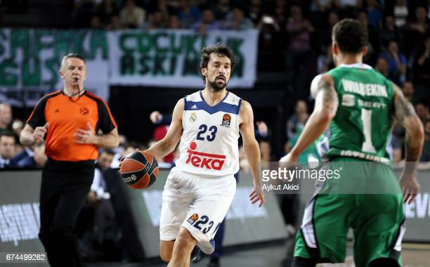 Sergio Llull #23 of Real Madrid in action during the 2016/2017 Turkish Airlines EuroLeague Playoffs leg 4 game between Darussafaka Dogus Istanbul v...