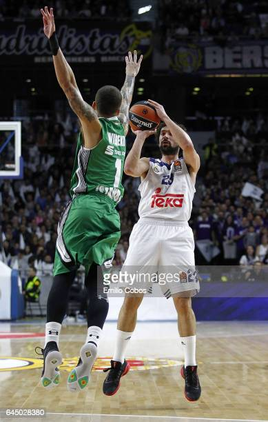 Sergio Llull #23 of Real Madridin action during the 2016/2017 Turkish Airlines EuroLeague Regular Season Round 23 game between Real Madrid v...