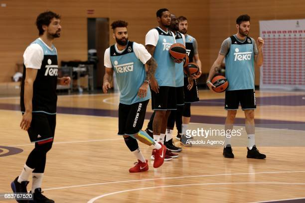 Sergio Llull Jeffery Taylor Trey Thompkins Othello Hunter Andres Nocioni and Rudy Fernandez of Real Madrid attend a training session before a press...