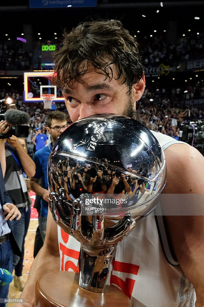 Sergio Llull of Real Madrid celebrate their victory over the 201516 ACB League FC Barcelona in the Barclaycard Center in Madrid Spain on June 22 2016