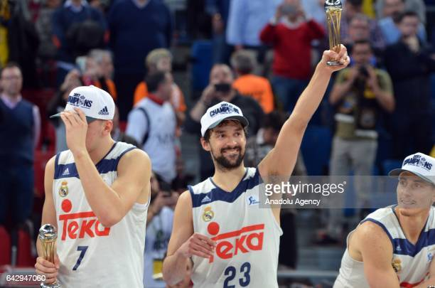 Sergio LLull of Real Madrid celebrates after winning Copa del Rey's final match between Real Madrid and Valencia BC at Fernando Buesa Arena in...