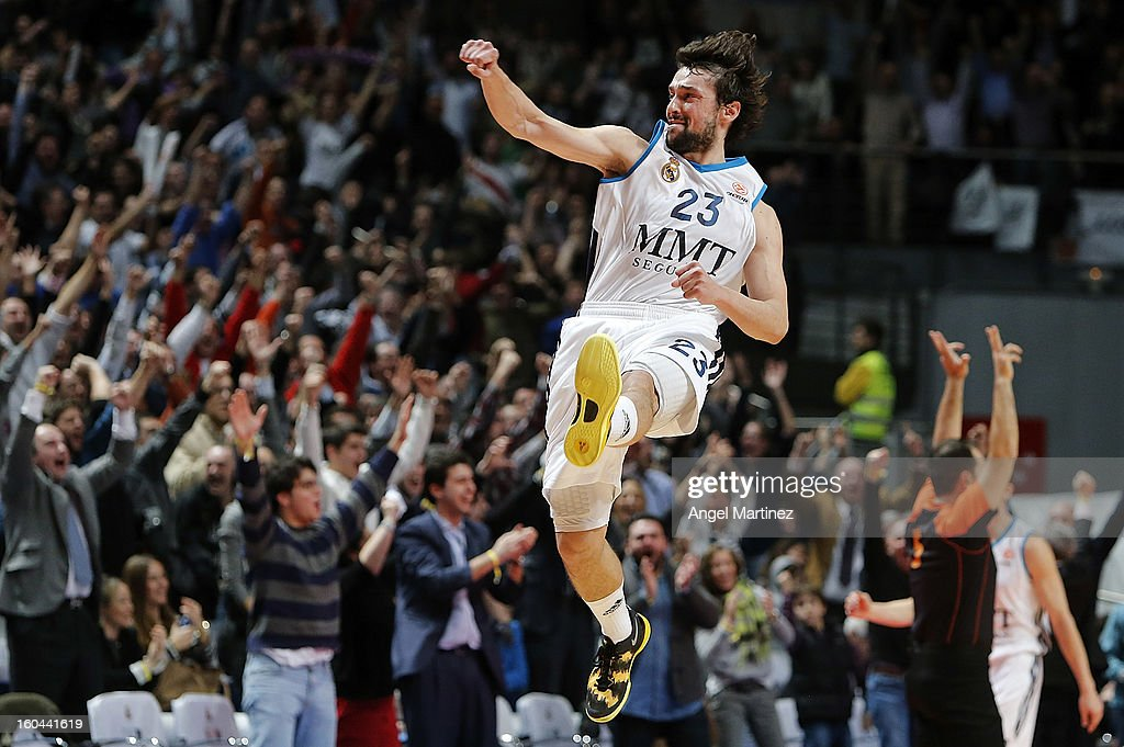 <a gi-track='captionPersonalityLinkClicked' href=/galleries/search?phrase=Sergio+Llull&family=editorial&specificpeople=4537823 ng-click='$event.stopPropagation()'>Sergio Llull</a> #23 of Real Madrid celebrates their victory against CSKA Moscow at the end of the Turkish Airlines Euroleague Top 16 game at Palacio de los Deportes on January 31, 2013 in Madrid, Spain.