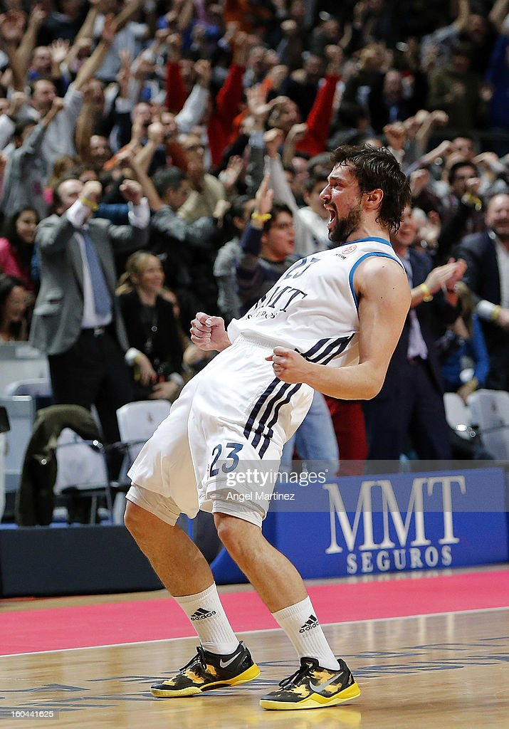 Sergio Llull #23 of Real Madrid celebrates their victory against CSKA Moscow at the end of the Turkish Airlines Euroleague Top 16 game at Palacio de los Deportes on January 31, 2013 in Madrid, Spain.