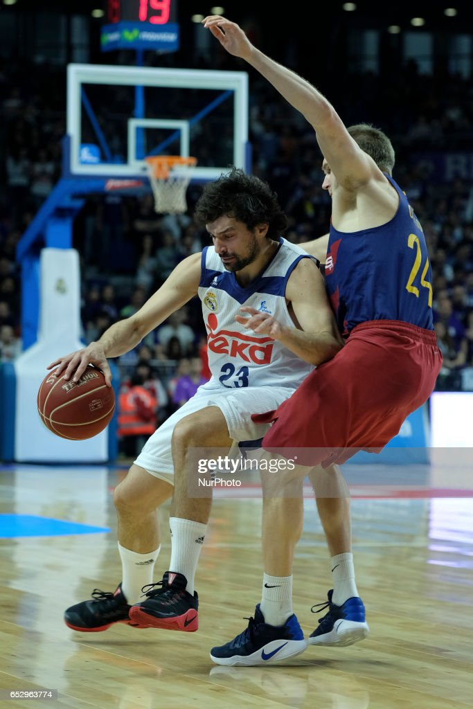 Sergio Llull of Real Madrid during the Liga Endesa game between Real Madrid v FC Barcelona at Barclaycard Center on March 12, 2017 in Madrid, Spain.