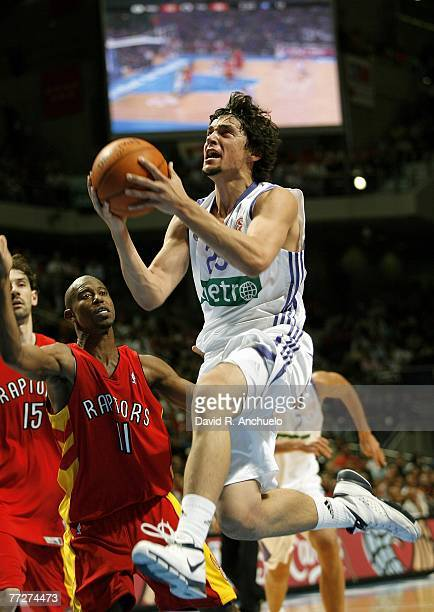 Sergio Llull of Real Madrid goes for a basket during the NBA Europe Live Tour match between Real Madrid and Toronto Raptors at the Palacio de los...