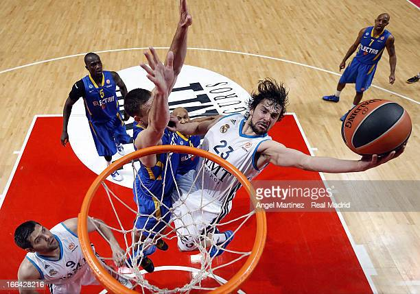 Sergio Llull of Real Madrid goes to the basket against Nik CanerMedley of Maccabi Electra Tel Aviv during the Turkish Airlines Euroleague Play Off...