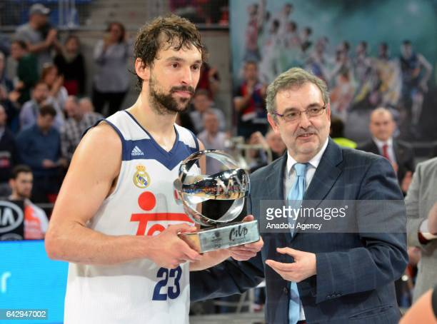 Sergio LLull of Real Madrid poses with MVP trophy after winning Copa del Rey's final match between Real Madrid and Valencia BC at Fernando Buesa...