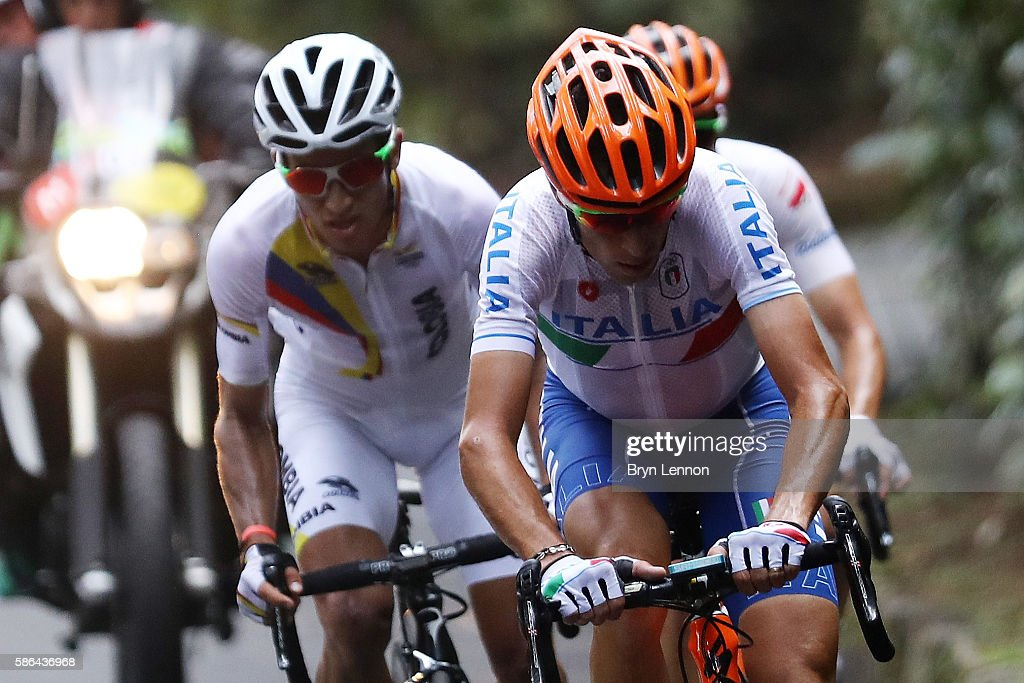 Sergio Luis Henao Montoya (L) of Colombia and Vincenzo Nibali (R) of Italy compete before their crash during the Men's Road Race on Day 1 of the Rio 2016 Olympic Games at the Fort Copacabana on August 6, 2016 in Rio de Janeiro, Brazil.