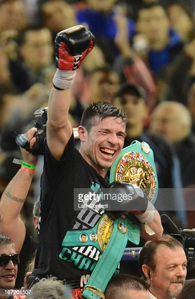 Sergio Maravilla Martinez from Argentina celebrates his victory after a fight against Martin Murray from England as part of the WBC middleweight...