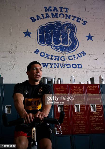 Sergio 'Maravilla' Martinez works out for members of the media at Matt Baiamontes's Boxing Club prior to his fight against Miguel Cotto on May 12...