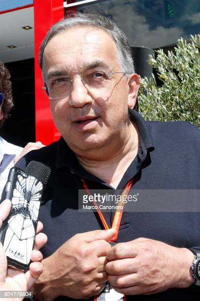 HUNGARORING BUDAPEST HUNGARY Sergio Marchionne CEO of FCA and Chairman of Ferrari talks to the media before the Formula One Grand Prix of Hungary