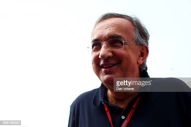 Sergio Marchionne CEO of FIAT and Chairman of Ferrari in the Paddock during the Formula One Grand Prix of Italy at Autodromo di Monza on September 4...