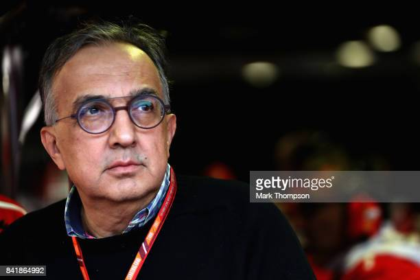 Sergio Marchionne CEO of FIAT and Chairman of Ferrari looks on from the garage during qualifying for the Formula One Grand Prix of Italy at Autodromo...