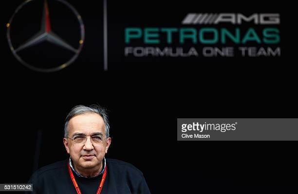 Sergio Marchionne CEO of FIAT and Chairman of Ferrari outside the Mercedes GP garage ahead of the Spanish Formula One Grand Prix at Circuit de...