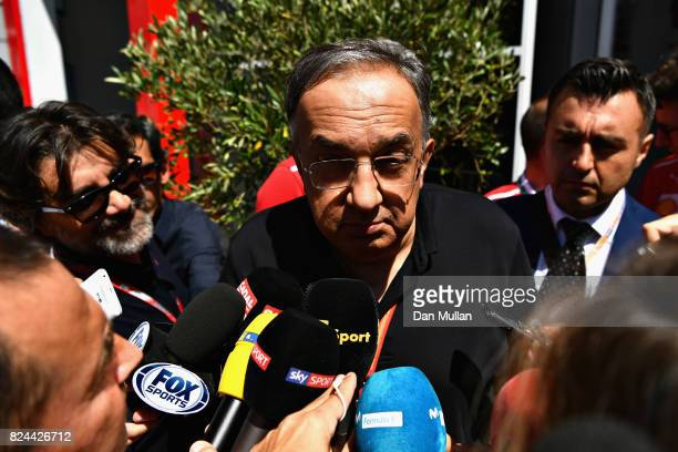 Sergio Marchionne CEO of FIAT and Chairman of Ferrari talks to the media before the Formula One Grand Prix of Hungary at Hungaroring on July 30 2017...