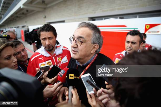 Sergio Marchionne CEO of FIAT and Chairman of Ferrari talks to the media in the Paddock before the United States Formula One Grand Prix at Circuit of...