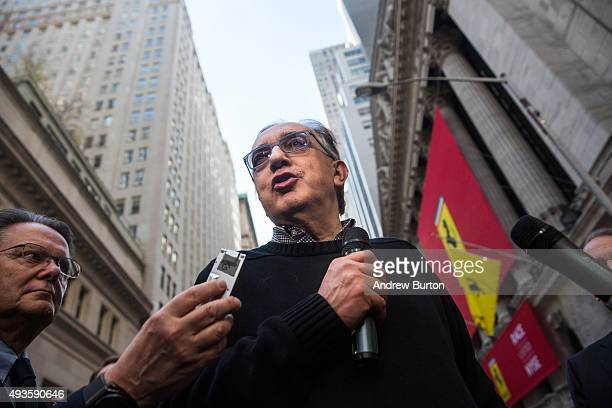 Sergio Marchionne CEO of Fiat Chrysler Automobiles gives an interview outside the New York Stock Exchange after Ferrari's IPO on October 21 2015 in...
