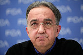 Sergio Marchionne CEO of Fiat Chrysler holds a press conference at the 2015 North American International Auto Show on January 12 2015 in Detroit...