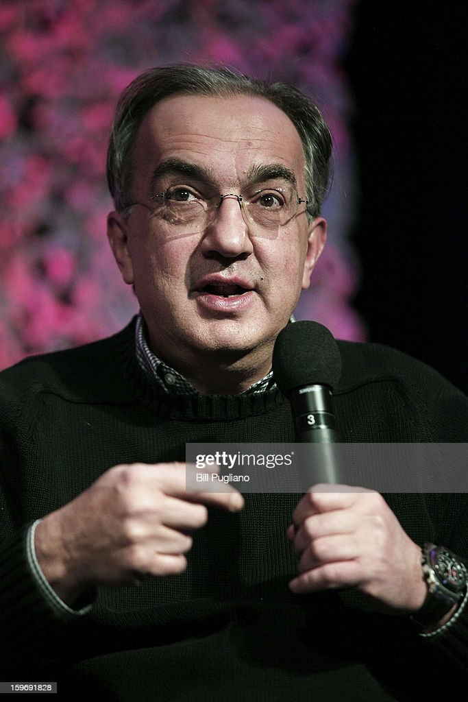 Sergio Marchionne, Chairman and CEO , Chrysler Group LLC, and CEO, Fiat S.p.A., speaks at the Inforum 11th Annual Auto Show Breakfast at the Detroit Mariott Renaissance Center January 18, 2013 in Detroit, Michigan. The topics of the speech were Marchionne's leadership principles, winning the talent war with diversity and inclusion, and the making of Chrysler's Superbowl ads.