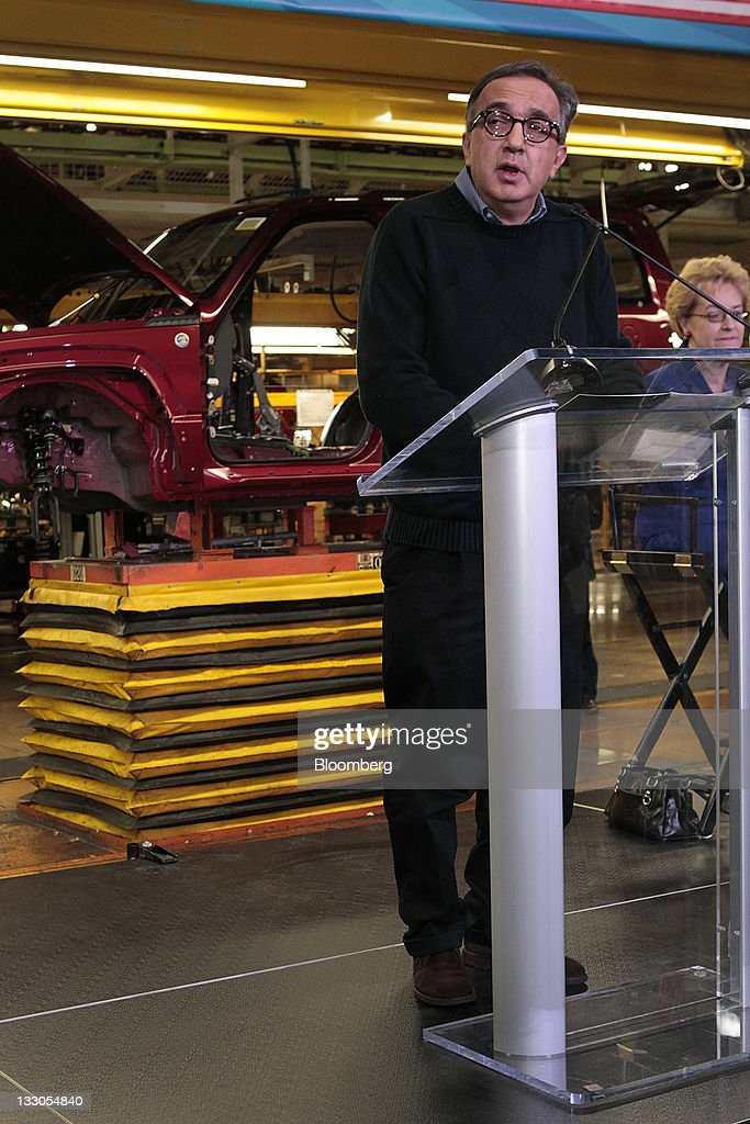 <a gi-track='captionPersonalityLinkClicked' href=/galleries/search?phrase=Sergio+Marchionne&family=editorial&specificpeople=608333 ng-click='$event.stopPropagation()'>Sergio Marchionne</a>, chairman and chief executive officer of Chrysler Group LLC, speaks at the Toledo Assembly Complex in Toledo, Ohio, U.S., on Wednesday, Nov. 16, 2011. Chrysler Group LLC said it will invest $1.7 billion to update a Jeep sport-utility vehicle and add a second shift at its factory in Toledo in the third quarter of 2013. Photographer: Jeff Kowalsky/Bloomberg via Getty Images