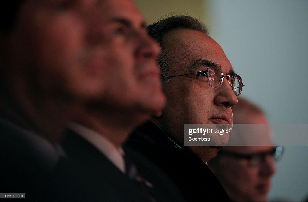 Sergio Marchionne, chief executive officer of Chrysler Group LLC and Fiat SpA, listens during the Chrysler Group LLC Jeep presentation at the 2013 North American International Auto Show (NAIAS) in Detroit, Michigan, U.S., on Monday, Jan. 14, 2013. The Detroit auto show runs through Jan. 27 and will display over 500 vehicles, representing the most innovative designs in the world. Photographer: Daniel Acker/Bloomberg via Getty Images