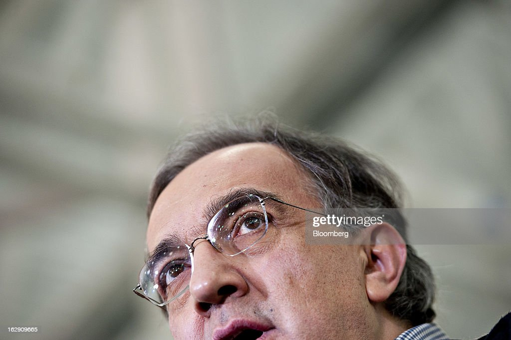 <a gi-track='captionPersonalityLinkClicked' href=/galleries/search?phrase=Sergio+Marchionne&family=editorial&specificpeople=608333 ng-click='$event.stopPropagation()'>Sergio Marchionne</a>, chief executive officer of Chrysler Group LLC and Fiat SpA, speaks at the Chrysler Group transmission plant in Kokomo, Indiana, U.S., on Thursday, Feb. 28, 2013. Chrysler Group LLC, the automaker majority owned by Fiat SpA, will invest about $374 million and add 1,250 jobs at Indiana factories to boost output of eight-and nine-speed transmissions. Photographer: Daniel Acker/Bloomberg via Getty Images