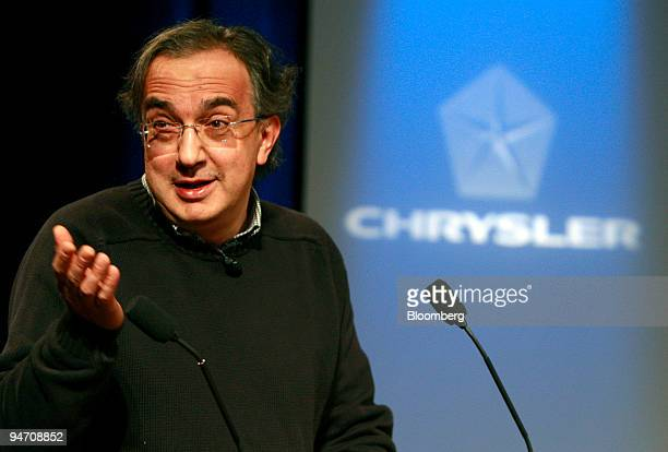Sergio Marchionne chief executive officer of Chrysler Group LLC and Fiat SpA speaks at a news conference at Chrysler headquarters in Auburn Hills...
