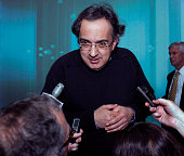 Sergio Marchionne Chief Executive Officer of Chrysler Group LLC speaks to the media after speaking at the Automotive News World Congress January 13...
