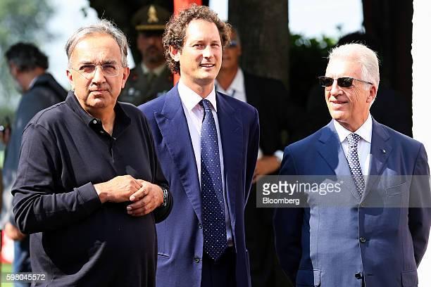 Sergio Marchionne chief executive officer of Fiat Chrysler Automobiles NV left John Elkann chairman of Fiat Chrysler Automobiles NV center and Piero...