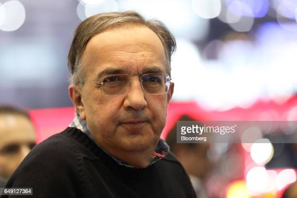 Sergio Marchionne chief executive officer of Fiat Chrysler Automobiles NV looks on during a launch event on the first day of the 87th Geneva...