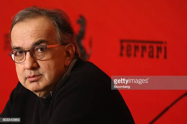 Sergio Marchionne chief executive officer of Fiat Chrysler Automobiles NV speaks during a news conference after the Ferrari SpA launch ceremony on...