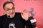 Sergio Marchionne chief executive officer of Fiat Chrysler Automobiles NV speaks during the press conference at the launch on the Borsa Italiana on...