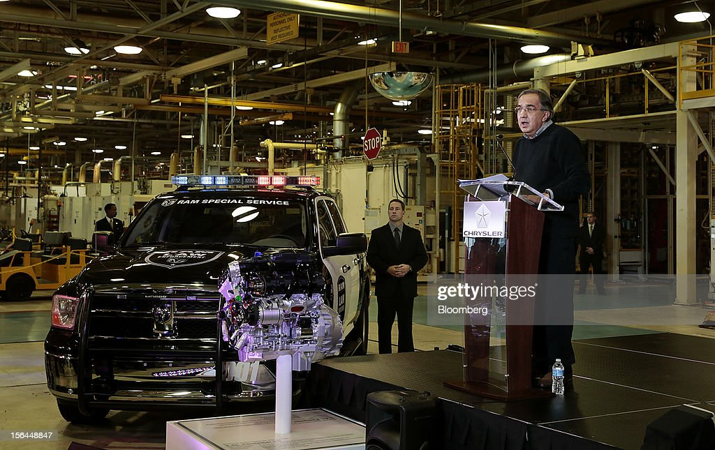 <a gi-track='captionPersonalityLinkClicked' href=/galleries/search?phrase=Sergio+Marchionne&family=editorial&specificpeople=608333 ng-click='$event.stopPropagation()'>Sergio Marchionne</a>, chief executive officer of Fiat SpA and Chrysler Group LLC, speaks while standing next to a Dodge Ram special service vehicle during an event at the Chrysler Mack I Engine Plant in Detroit, Michigan, U.S., on Thursday, Nov. 15, 2012. Chrysler Group LLC, the automaker planning to merge with Fiat SpA, will add 1,250 workers at three U.S. plants to boost output of pickups and engines. Photographer: Jeff Kowalsky/Bloomberg via Getty Images