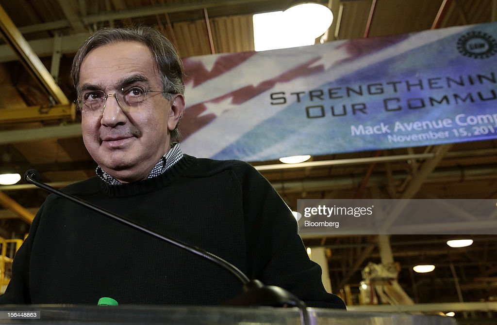 <a gi-track='captionPersonalityLinkClicked' href=/galleries/search?phrase=Sergio+Marchionne&family=editorial&specificpeople=608333 ng-click='$event.stopPropagation()'>Sergio Marchionne</a>, chief executive officer of Fiat SpA and Chrysler Group LLC, pauses while speaking at an event at the Chrysler Mack I Engine Plant in Detroit, Michigan, U.S., on Thursday, Nov. 15, 2012. Chrysler Group LLC, the automaker planning to merge with Fiat SpA, will add 1,250 workers at three U.S. plants to boost output of pickups and engines. Photographer: Jeff Kowalsky/Bloomberg via Getty Images