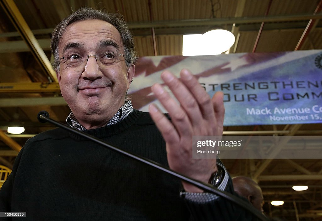 <a gi-track='captionPersonalityLinkClicked' href=/galleries/search?phrase=Sergio+Marchionne&family=editorial&specificpeople=608333 ng-click='$event.stopPropagation()'>Sergio Marchionne</a>, chief executive officer of Fiat SpA and Chrysler Group LLC, gestures while speaking at an event at the Chrysler Mack I Engine Plant in Detroit, Michigan, U.S., on Thursday, Nov. 15, 2012. Chrysler Group LLC, the automaker planning to merge with Fiat SpA, will add 1,250 workers at three U.S. plants to boost output of pickups and engines. Photographer: Jeff Kowalsky/Bloomberg via Getty Images