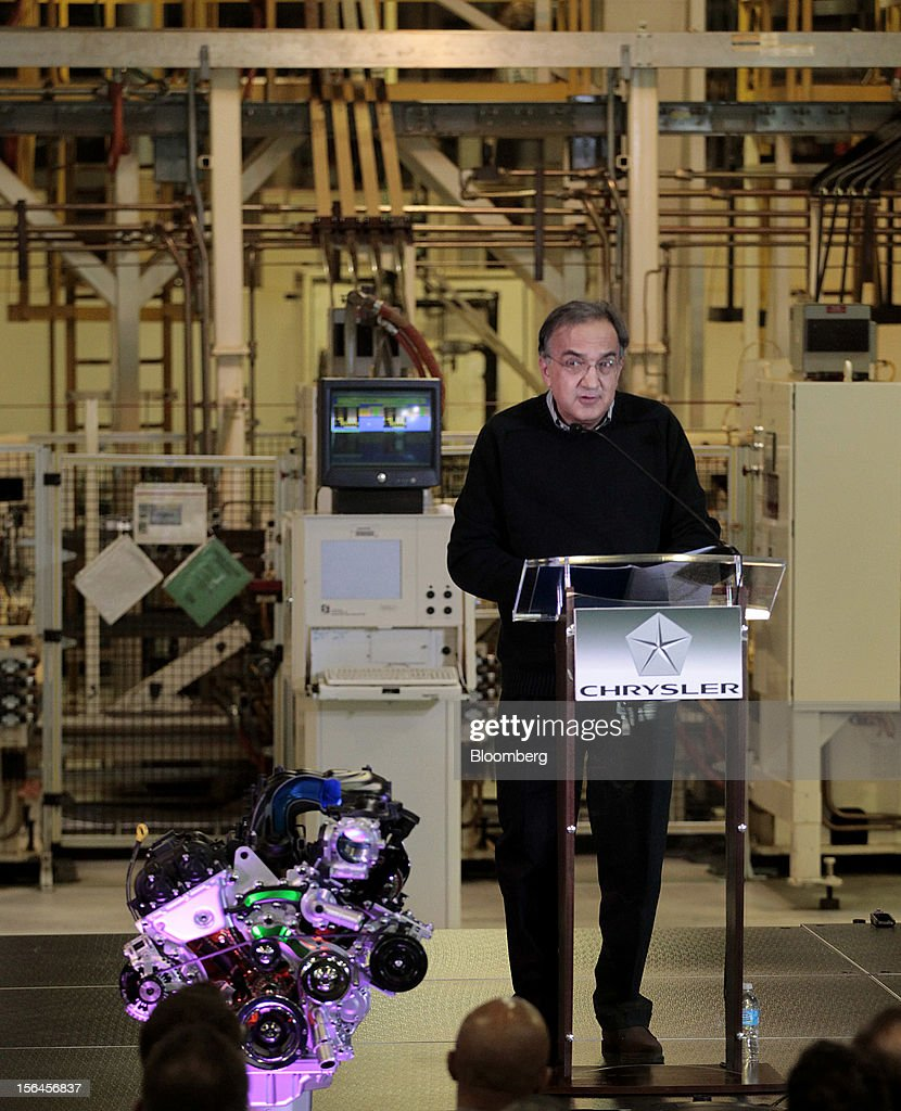 <a gi-track='captionPersonalityLinkClicked' href=/galleries/search?phrase=Sergio+Marchionne&family=editorial&specificpeople=608333 ng-click='$event.stopPropagation()'>Sergio Marchionne</a>, chief executive officer of Fiat SpA and Chrysler Group LLC, speaks during an event at the Chrysler Mack I Engine Plant in Detroit, Michigan, U.S., on Thursday, Nov. 15, 2012. Chrysler Group LLC, the automaker planning to merge with Fiat SpA, will add 1,250 workers at three U.S. plants to boost output of pickups and engines. Photographer: Jeff Kowalsky/Bloomberg via Getty Images