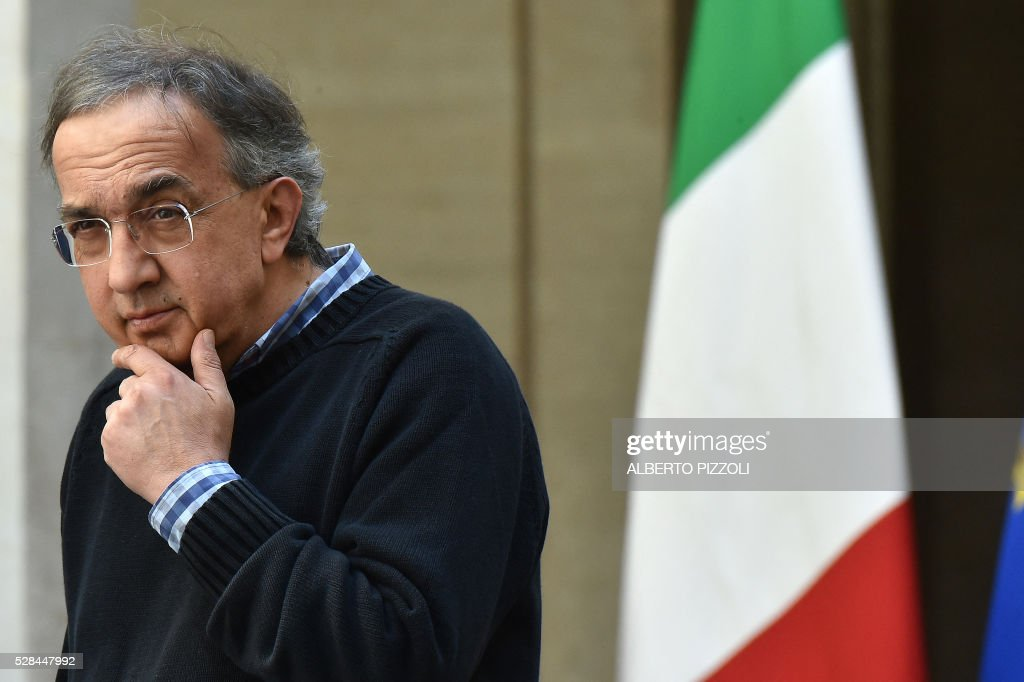 FCA (FIAT) CEO Sergio Marchionne is pictured during the presentation of the new FCA (FIAT) car 'Giulia' on May 5, 2016 at Chigi palace in Rome. / AFP / ALBERTO