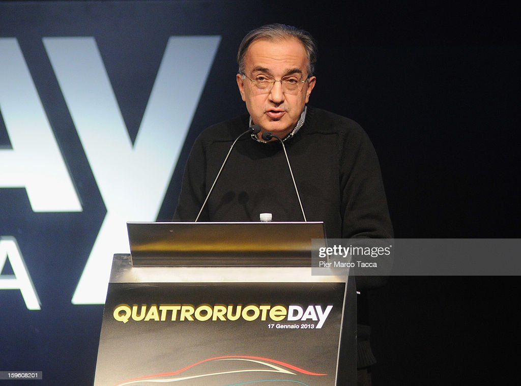 <a gi-track='captionPersonalityLinkClicked' href=/galleries/search?phrase=Sergio+Marchionne&family=editorial&specificpeople=608333 ng-click='$event.stopPropagation()'>Sergio Marchionne</a>, President of FIAT and Chrysler makes his speech at Quattroruote Day 2013 on January 17, 2013 in Milan, Italy. Quattroruote Day is an annual conference organized by the publishing firm Domus, which this year focuses on the future of the automobile in Italy.