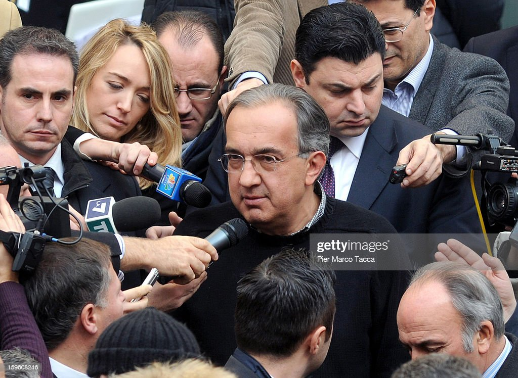 <a gi-track='captionPersonalityLinkClicked' href=/galleries/search?phrase=Sergio+Marchionne&family=editorial&specificpeople=608333 ng-click='$event.stopPropagation()'>Sergio Marchionne</a>, President of FIAT and Chrysler speaks to the media at the end of Quattroruote Day 2013 on January 17, 2013 in Milan, Italy. Quattroruote Day is an annual conference organized by the publishing firm Domus, which this year focuses on the future of the automobile in Italy. (Photo by Pier Marco Tacca/Getty Images))