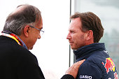 Sergio Marchionne the CEO of Fiat Chrysler speaks with Infiniti Red Bull Racing Team Principal Christian Horner during the Canadian Formula One Grand...