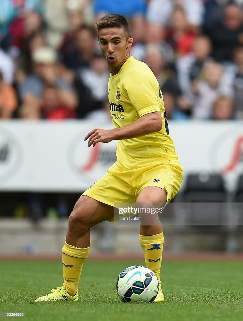 Sergio Marcos of Villarreal in action during a pre season friendly match between Swansea City and Villarreal at Liberty Stadium on August 09, 2014 in Swansea, Wales.