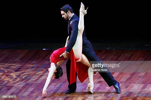 Sergio Martin Almiron and Giovanna Di Vicenzo of Argentina dance during the Stage Tango Final as part of Buenos Aires Tango Festival World...