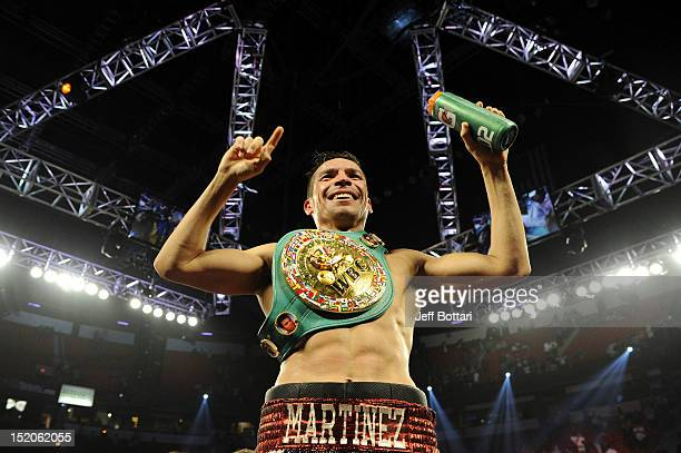 Sergio Martinez celebrates after defeating Julio Cesar Chavez Jr in twelve rounds by unanimous decision for their WBC middleweight title fight at the...