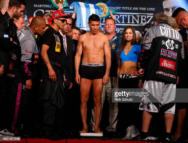 Sergio Martinez is weighed in on June 6 2014 in New York City Martinez will be fighting Miguel Cotto for the WBC Middleweight Championship on...