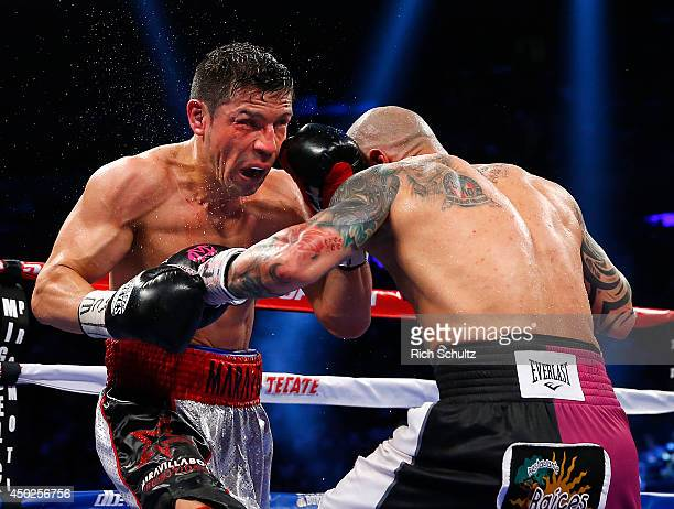 Sergio Martinez of Argentina attempts to hold off Miguel Cotto of Puerto Rico during the ninth round as they battle for the WBC Middleweight...