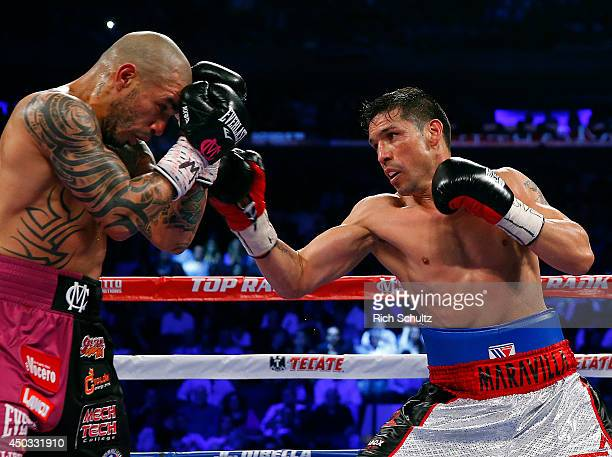 Sergio Martinez right of Argentina battles Miguel Cotto of Puerto Rico during the fourth round as they battle for the WBC Middleweight Championship...