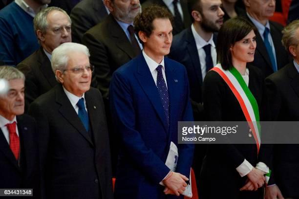 Sergio Mattarella President of the Italian Republic John Philip Jacob Elkann Italian businessman and chairman of Italiana Editrice SpA and Chiara...