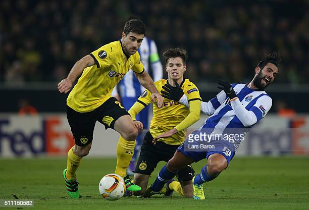Sergio Oliveira of FC Porto competes for the ball against during the UEFA Europa League round of 32 first leg match between Borussia Dortmund and FC...